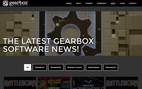 Screenshot of Press Page gearboxsoftware.com - News – Gearbox Software - captured July 3, 2016