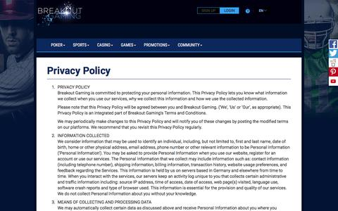 Screenshot of Privacy Page breakoutgaming.com - Privacy Policy - Breakout Gaming - Sports, Poker, Casino & Gaming - captured Oct. 13, 2017
