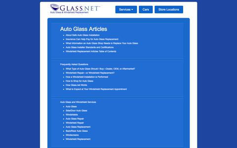 Screenshot of Site Map Page glass.net - Windshield Replacement Infographic - Cost | Glass.net • Glass.net - captured Sept. 23, 2018