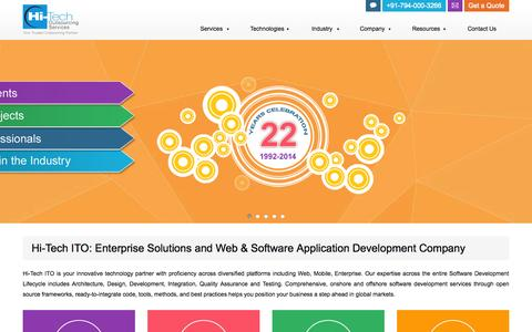 Screenshot of Home Page hitechito.com - Hi-Tech ITO | Custom Web Software, Mobile App Development Company - captured Sept. 22, 2014