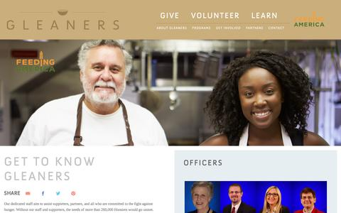 Screenshot of Team Page gleaners.org - Our Team | Gleaners Food Bank of Indiana - captured Jan. 29, 2016