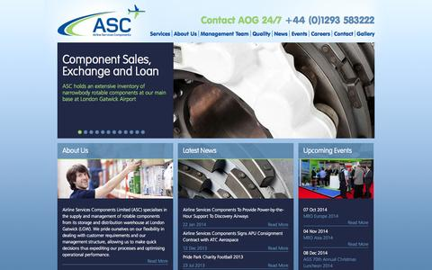 Screenshot of Home Page ascltd.com - Airline Services Components - captured Oct. 4, 2014