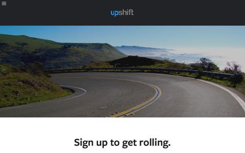 Screenshot of Signup Page upshiftcars.com - Upshift: On Demand Car Rental - captured Feb. 17, 2016