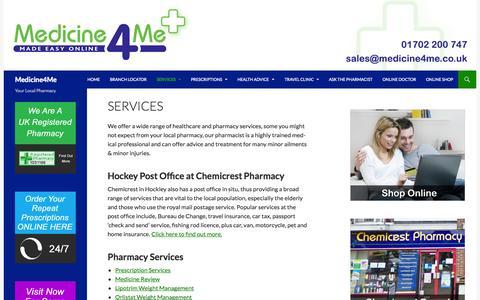 Screenshot of Services Page medicine4me.co.uk - Services | Medicine4Me - captured Nov. 3, 2014