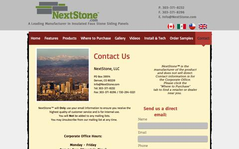 Screenshot of Contact Page nextstone.com - Faux Stone Siding Panels | Contact - captured Aug. 13, 2016