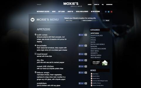 Screenshot of Menu Page moxies.ca - Appetizers | Moxie's Grill & Bar - captured Oct. 26, 2014