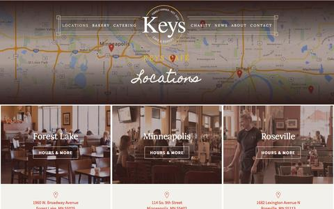 Screenshot of Locations Page keyscafe.com - Keys Cafe & Bakery | Twin Cities Restaurants | Breakfast, Lunch and Dinner - captured Feb. 12, 2016