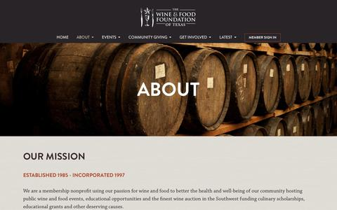 Screenshot of About Page winefoodfoundation.org - The Wine & Food Foundation of Texas - captured Nov. 5, 2014