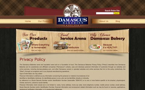 Screenshot of Privacy Page damascusbakery.com - Privacy Policy | Damascus Bakeries - captured Sept. 30, 2014