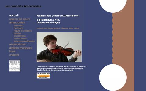 Screenshot of Home Page amarcordes.ch - Les concerts Amarcordes - captured Oct. 16, 2015