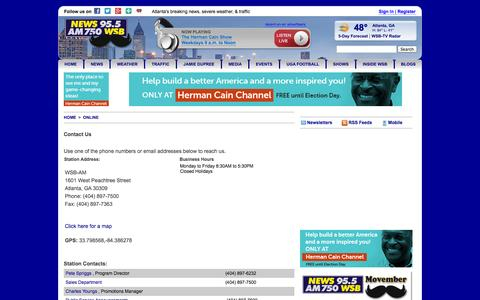 Screenshot of Contact Page wsbradio.com - Contact Us | www.wsbradio.com - captured Nov. 3, 2014