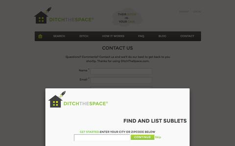 Screenshot of Contact Page ditchthespace.com - Contact Us   DitchTheSpace - captured Sept. 30, 2014