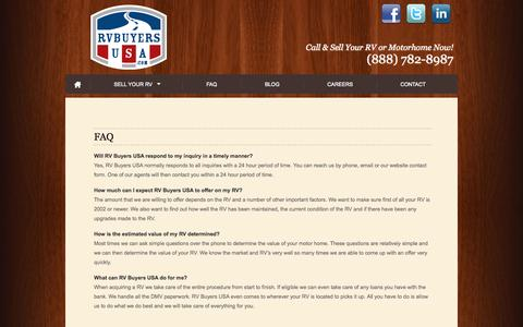 Screenshot of FAQ Page rvbuyersusa.com - FAQ - - RV Buyers USA - captured Oct. 9, 2014