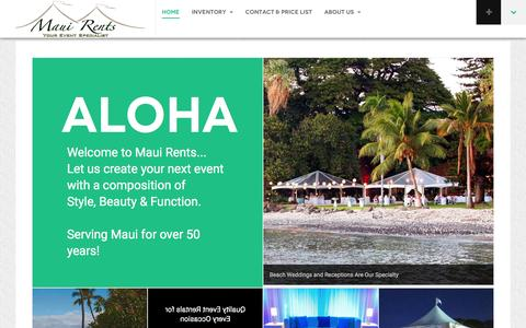 Screenshot of Home Page mauirents.com - MauiRents.com - Your premier provider of tent and event rental equipment for all of Maui, LanaŐi and MolokaŐI - MauiRents.com - captured Jan. 9, 2016