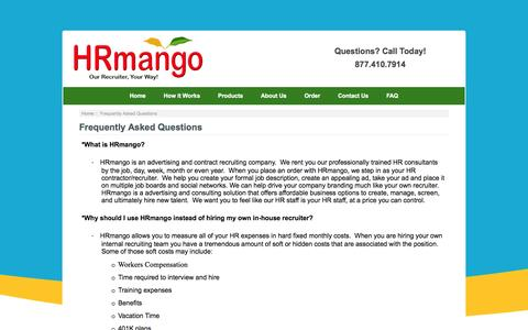 Screenshot of FAQ Page hrmango.com - Frequently Asked Questions : HR Mango, Human Resources | Human Resources Management | HR Human Resources - captured Sept. 26, 2014