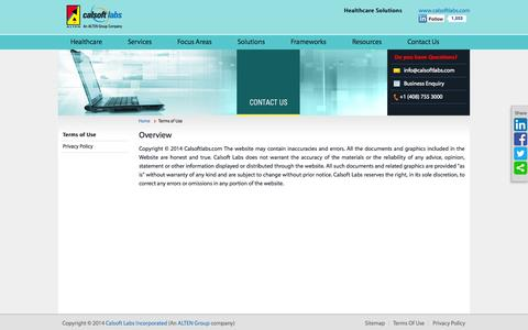 Screenshot of Terms Page calsoftlabs.com - Calsoft Labs | Terms of Use - captured Oct. 1, 2014