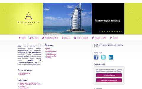 Screenshot of Site Map Page hospitalitybelgium.com - Sitemap - Hospitality Belgium - captured Sept. 30, 2014