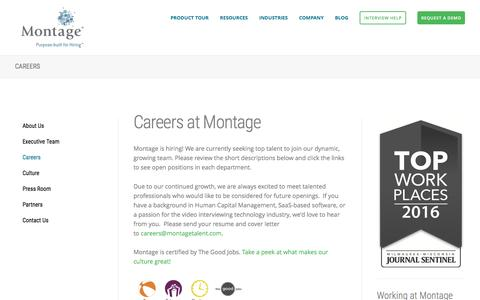 Screenshot of Jobs Page montagetalent.com - Voice and Video Interviewing Technology Careers | Montage - captured Oct. 10, 2016