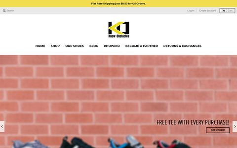 Screenshot of Home Page knowobstacles.com - Know Obstacles: Parkour Shoes & Apparel - captured Sept. 20, 2018