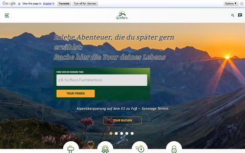 Screenshot of Home Page guiders.de - Ausflüge, Aktivitäten und Outdoor Touren buchen | guiders.de - captured Sept. 22, 2018
