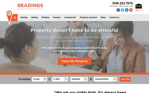 Screenshot of Home Page readingspropertygroup.com - Readings Estate Agents Leicester, Lettings & Houses For Sale. - captured Aug. 17, 2016