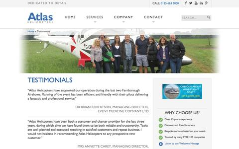 Screenshot of Testimonials Page atlashelicopters.co.uk - Testimonials | Atlas Helicopters - captured May 31, 2017