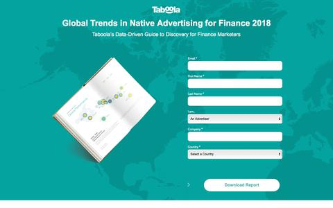 Screenshot of Landing Page taboola.com - Finance Marketing Report: Digital and Native Advertising Insights - captured Sept. 18, 2018