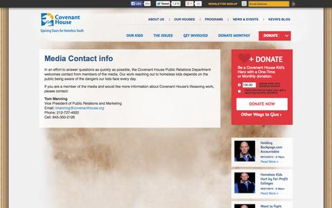 Screenshot of Press Page covenanthouse.org - Media Contact info | Covenant House - captured Sept. 19, 2014