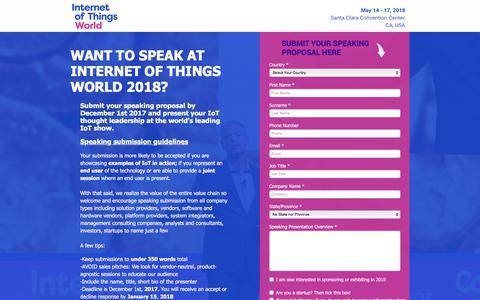 Screenshot of Landing Page knect365.com - Speaking Proposal | Internet of Things World 2018 - captured Sept. 11, 2017