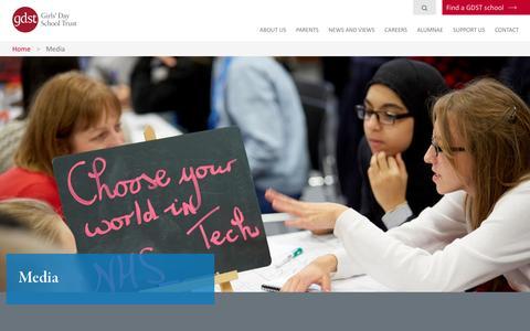 Screenshot of Press Page gdst.net - Media | Girls' Day School Trust - captured Oct. 6, 2016