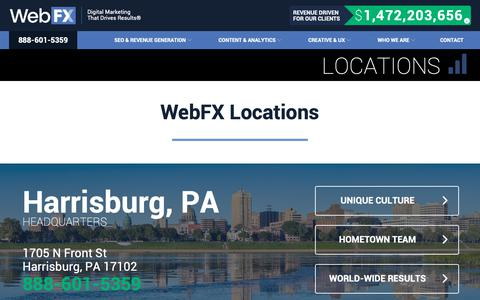 Screenshot of Locations Page webfx.com - WebFX Locations - captured Feb. 16, 2019
