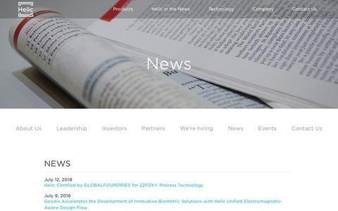Screenshot of Press Page helic.com - News - Helic - captured July 18, 2018