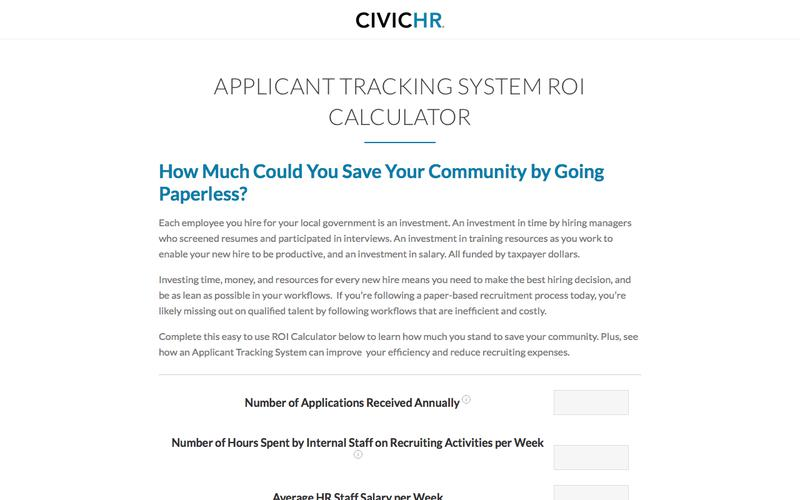 CivicHR Applicant Tracking System ROI Calculator