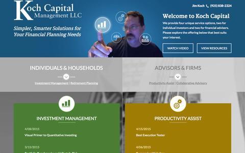 Screenshot of Home Page kochcapital.com - Simpler, Smarter Solutions: Investing, Retirement from Koch Capital - captured Sept. 6, 2015