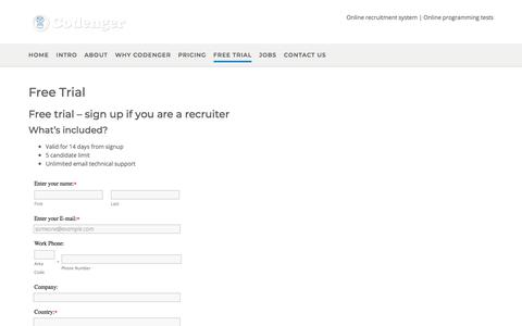 Screenshot of Trial Page codenger.com - Free Trial   Codenger - Online recruitment system & programming tests - captured July 20, 2018