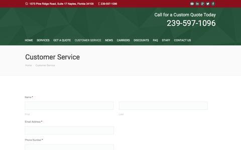 Screenshot of Support Page ackerman-insurance.com - Customer Service - captured Feb. 5, 2016