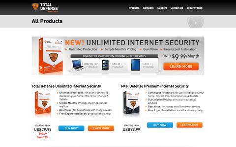 Screenshot of Products Page totaldefense.com - Products | Total Defense - captured Sept. 19, 2014