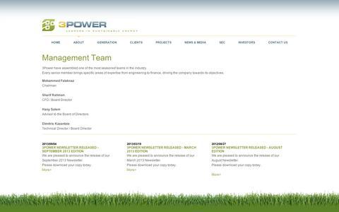 Screenshot of Team Page 3powerenergy.com - Management Team | 3Power Energy - captured Sept. 10, 2014