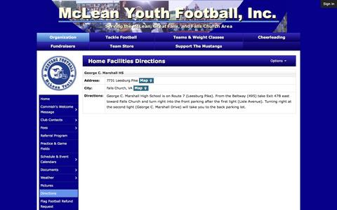 Screenshot of Maps & Directions Page mcleanyouthfootball.org - Home Facilities Directions | McLean Youth Football - captured Jan. 9, 2016
