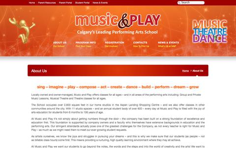 Screenshot of About Page musicandplay.ca captured Feb. 2, 2020