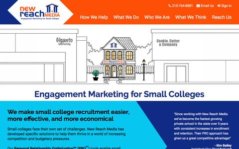 Screenshot of Home Page newreachmedia.com - New Reach Media | Engagement Marketing for Small Colleges - captured Sept. 20, 2018