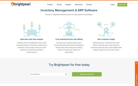 Screenshot of Home Page brightpearl.com - Inventory Management & ERP Software | Brightpearl - captured Feb. 6, 2016