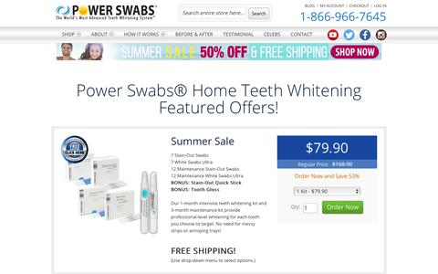 Screenshot of Products Page powerswabs.com - Home Teeth Whitening - Power Swabs - captured July 12, 2016