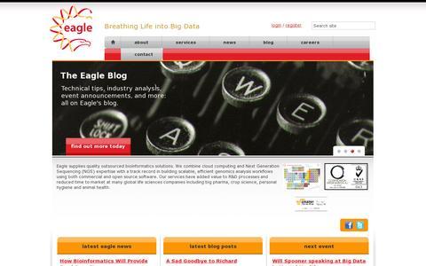 Screenshot of Home Page eaglegenomics.com - Eagle Genomics Ltd - Bioinformatics Consultants - captured July 11, 2014