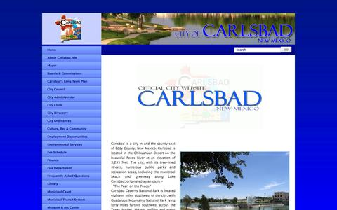Screenshot of Home Page cityofcarlsbadnm.com - Carlsbad, New Mexico - Official City Website - captured Oct. 2, 2014