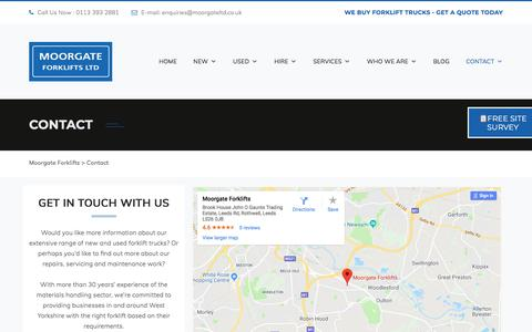 Screenshot of Contact Page moorgateforklifts.co.uk - Contact Us | Moorgate Forklifts - captured Aug. 19, 2019