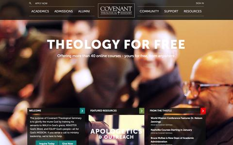 Screenshot of Home Page covenantseminary.edu - Home // Covenant Theological Seminary - captured Jan. 14, 2016