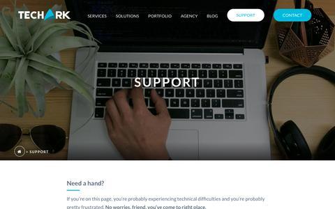 Screenshot of Support Page gotechark.com - Support - TechArk Solutions - captured Oct. 18, 2018