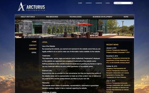 Screenshot of Terms Page arcturusrx.com - Legal | Arcturus Therapeutics - captured Feb. 6, 2016