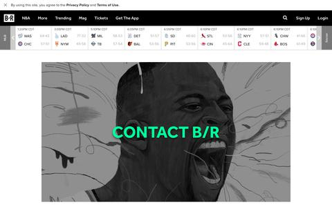 Screenshot of Contact Page bleacherreport.com - Contact Us | Bleacher Report - captured Aug. 5, 2017